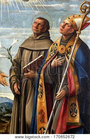 KOSLJUN, CROATIA - DECEMBER 12: Girolamo da Santa Croce: St. Anthony of Padua and St. Louis of Toulouse, Altarpiece Franciscan church in Kosljun, Croatia on December 12, 2011