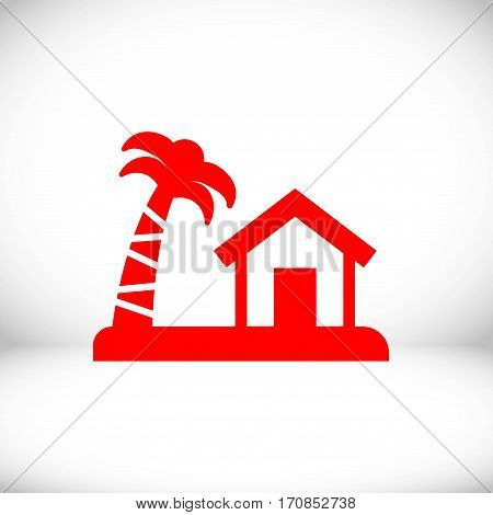 house on the island icon stock vector illustration flat design