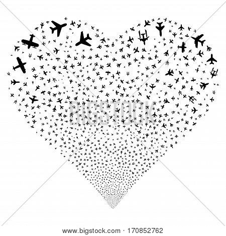 Airplanes fireworks with heart shape. Vector illustration style is flat black iconic symbols on a white background. Object stream organized from confetti design elements.