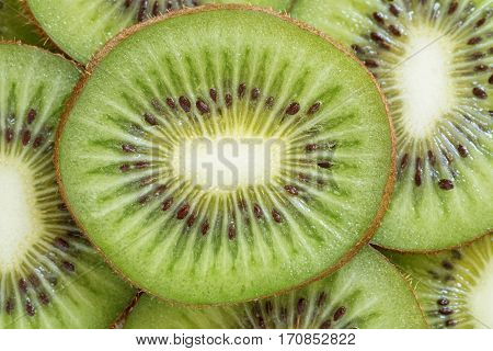 fresh kiwi fruit background. round slices closeup