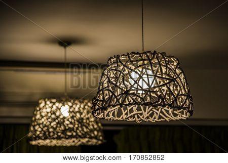 Wicker lamp wicker chandelier made of wood