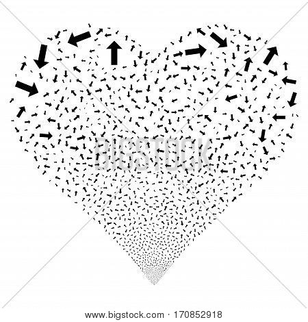 Arrow fireworks with heart shape. Vector illustration style is flat black iconic symbols on a white background. Object valentine heart made from scattered pictographs.