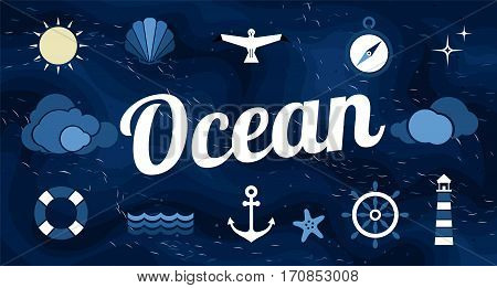 Vector flat ocean design background with text. Cute template with seashell seagull bird lighthouse lifebuoy starfish anchor and ocean waves.