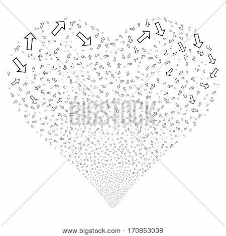 Arrow fireworks with heart shape. Vector illustration style is flat black iconic symbols on a white background. Object stream combined from scattered symbols.