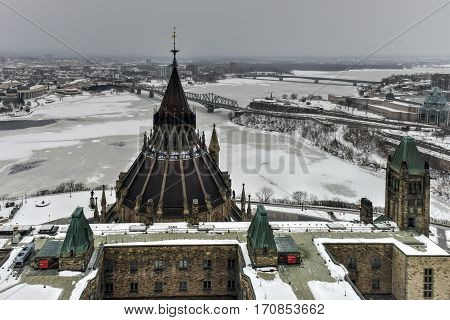 Ottawa, Canada - December 26, 2016: Library of Parliament on Parliament Hill in Ottawa Ontario.