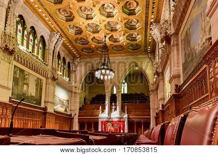 Ottawa, Canada - December 26, 2016: The Senate of Parliament Building Ottawa Canada