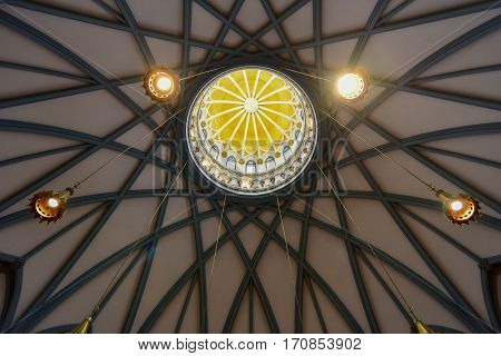 Ottawa, Canada - December 26, 2016: Ornate Ceiling of the Library of Parliament on Parliament Hill in Ottawa Ontario.
