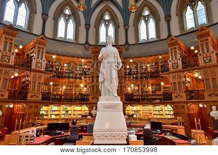 Ottawa, Canada - December 26, 2016: Queen Victoria in the Main Reading Room of the Library of Parliament on Parliament Hill in Ottawa Ontario.