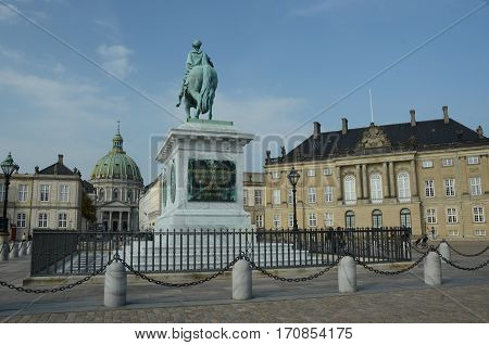 A view of the landmarks of Amalienborg in Copenhagen