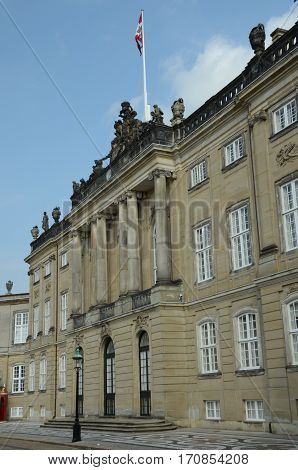 An external view of the palace building at Amalienborg
