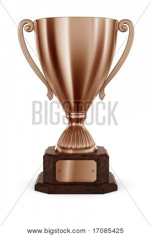 3d rendering of classic trophy in bronze