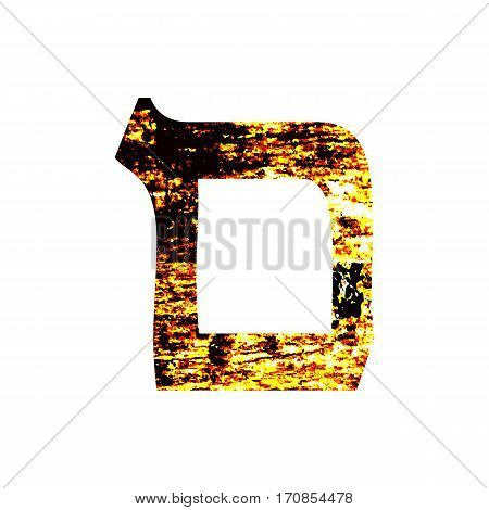 Hebrew letter Mem. Shabby gold font. The Hebrew alphabet.