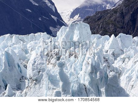 The close view of the glacier top in Glacier Bay national park (Alaska).