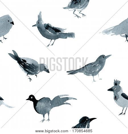 Black and white watercolor seamless pattern with birds