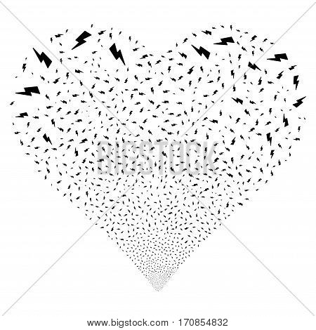 Electric Strike fireworks with heart shape. Vector illustration style is flat black iconic symbols on a white background. Object heart made from scattered symbols.