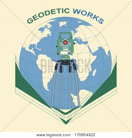 Global geodetic work in the world. Vector illustration of surveying under a magnifying glass on the background of the globe.