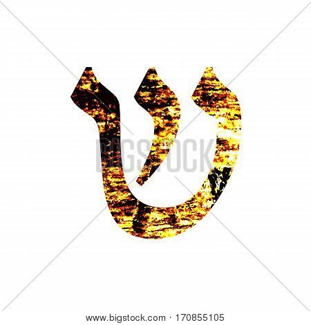 Hebrew letter Shin. Shabby gold font. The Hebrew alphabet.