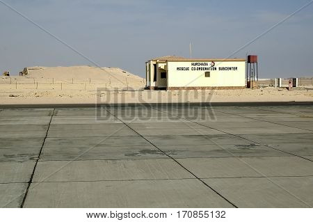 Hurghada, Egypt - November 5, 2006: Hurghada Inetrnational airport. The building of Flight Emergency and Rescue Support Service