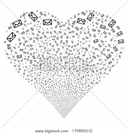 Envelope fireworks with heart shape. Vector illustration style is flat black iconic symbols on a white background. Object heart organized from scattered design elements.