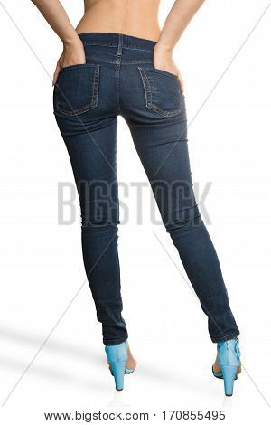 woman wearing jeans Rear View high quality and high resolution studio shoot