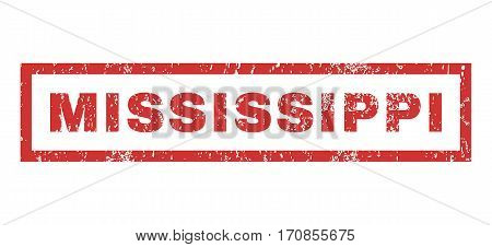 Mississippi text rubber seal stamp watermark. Caption inside rectangular banner with grunge design and scratched texture. Horizontal vector red ink emblem on a white background.