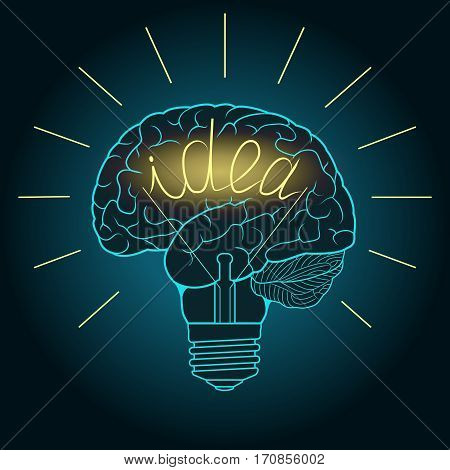 Abstract illustration with brain and light bulb - idea. Design concept for invention and innovation creativity