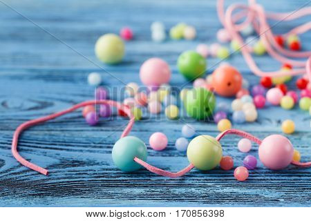 Art Of Jewerly Hobby. Making Of Beads From Few Colored Balls