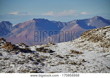 Journey Through The Altai Mountains To  Aktru. Hiking To Snowy Peaks Of The Altai Mountains. Surviva