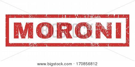Moroni text rubber seal stamp watermark. Caption inside rectangular banner with grunge design and unclean texture. Horizontal vector red ink sign on a white background.