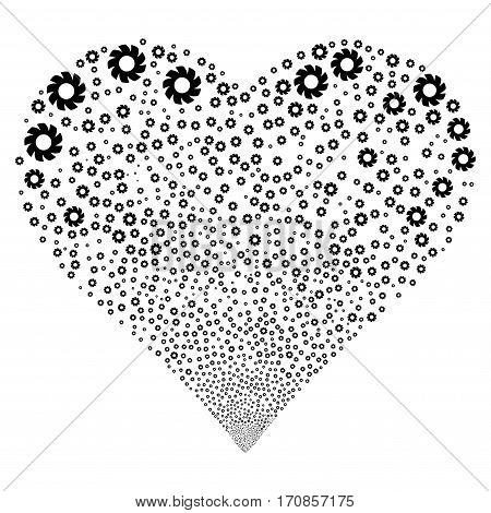 Turbine fireworks with heart shape. Vector illustration style is flat black iconic symbols on a white background. Object love heart combined from scattered symbols.