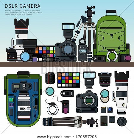 Thin line flat design of DSLR camera. Photography set packed on the shelf, details of this set rucksack, tripod, memory cards, usb cables isolated on white background