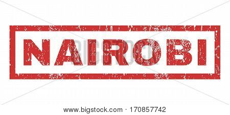 Nairobi text rubber seal stamp watermark. Tag inside rectangular shape with grunge design and dirty texture. Horizontal vector red ink sticker on a white background.
