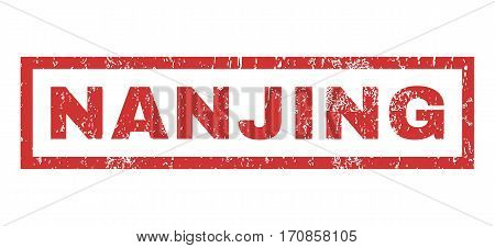 Nanjing text rubber seal stamp watermark. Tag inside rectangular banner with grunge design and dirty texture. Horizontal vector red ink emblem on a white background.