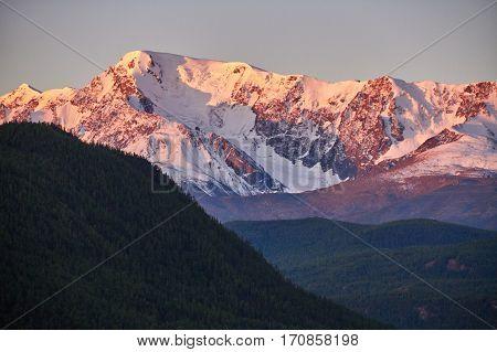 Journey Through The Altai Mountains To  Aktru. Hiking To Snowy Peaks Of The Altai Mountains. Surviva