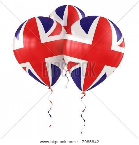 3d rendering of british balloons