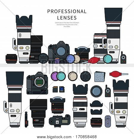 Thin line flat design of the professional photo cameras on the shelf. Icons for web design and photographic studios. Photographer kit, photo equipment, lenses, objectives isolated on white background