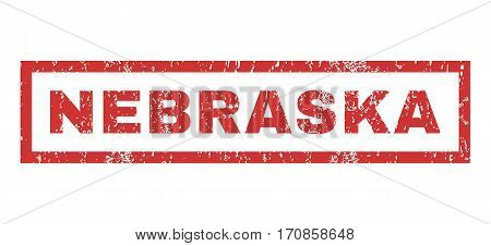 Nebraska text rubber seal stamp watermark. Tag inside rectangular shape with grunge design and dirty texture. Horizontal vector red ink emblem on a white background.