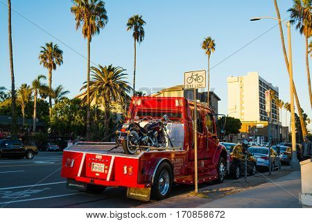 Los Angeles California - November 03 2016: Motorcycle on a tow truck