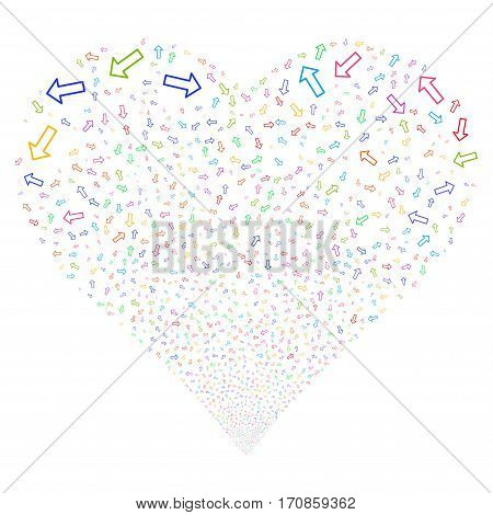 Arrow fireworks with heart shape. Vector illustration style is flat bright multicolored iconic symbols on a white background. Object stream created from scattered symbols.