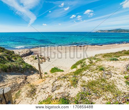 Rena Majore beach shoreline in Sardinia, Italy