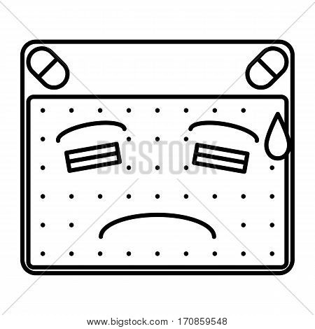 simple thin line face with cold sweat icon vector