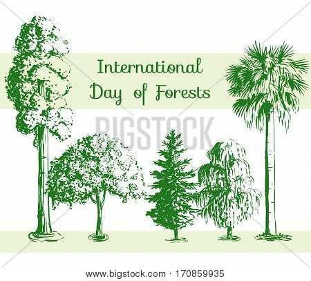 International Day of Forests card. Vector hand drawn sketch tree pattern. Sequoia palmetto willow apple-tree spruce.