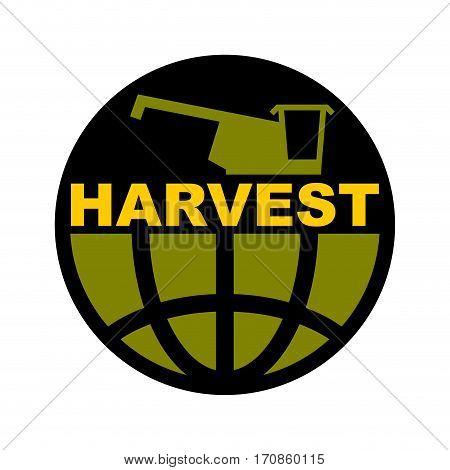 Harvest Logo. Agriculture Emblem. Combine Harvester And Earth. Farm Sign