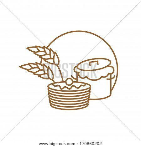 Saucepan And Pancakes Line Sign. Symbol For Bakery. Production Bread Ingredient