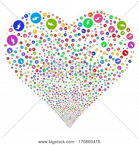 Electricity fireworks with heart shape. Vector illustration style is flat bright multicolored iconic symbols on a white background. Object heart done from scattered pictograms.