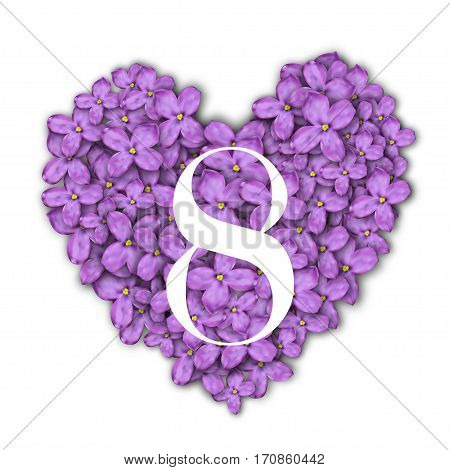 8 March Women's Day greeting card template. Number 8 at the heart of a lilac background.