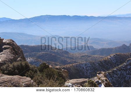 Mountain scene with hazy mountains in background