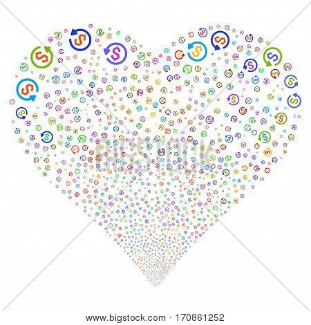 Refund fireworks with heart shape. Vector illustration style is flat bright multicolored iconic symbols on a white background. Object love heart combined from scattered pictograms.