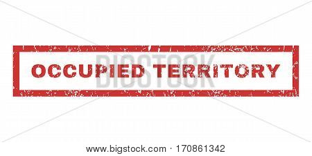 Occupied Territory text rubber seal stamp watermark. Caption inside rectangular shape with grunge design and scratched texture. Horizontal vector red ink emblem on a white background.