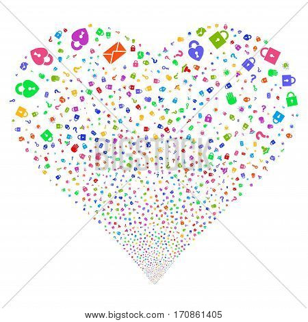 Secrecy Symbols fireworks with heart shape. Vector illustration style is flat bright multicolored iconic symbols on a white background. Object stream organized from random icons.